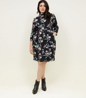 Blue Vanilla Curves Black Floral High Neck Dress