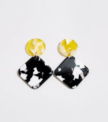 Black 2-Tone Resin Drop Earrings