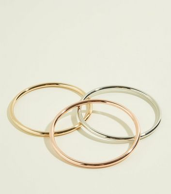 3 Pack Multicoloured Metal Bangles
