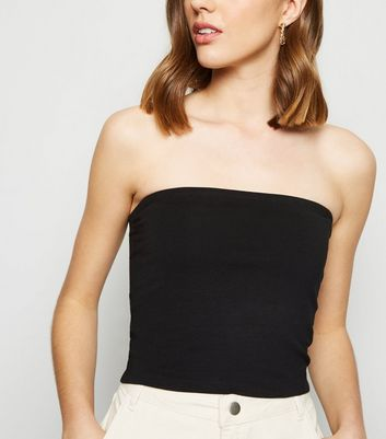 Black Cropped Bandeau Top
