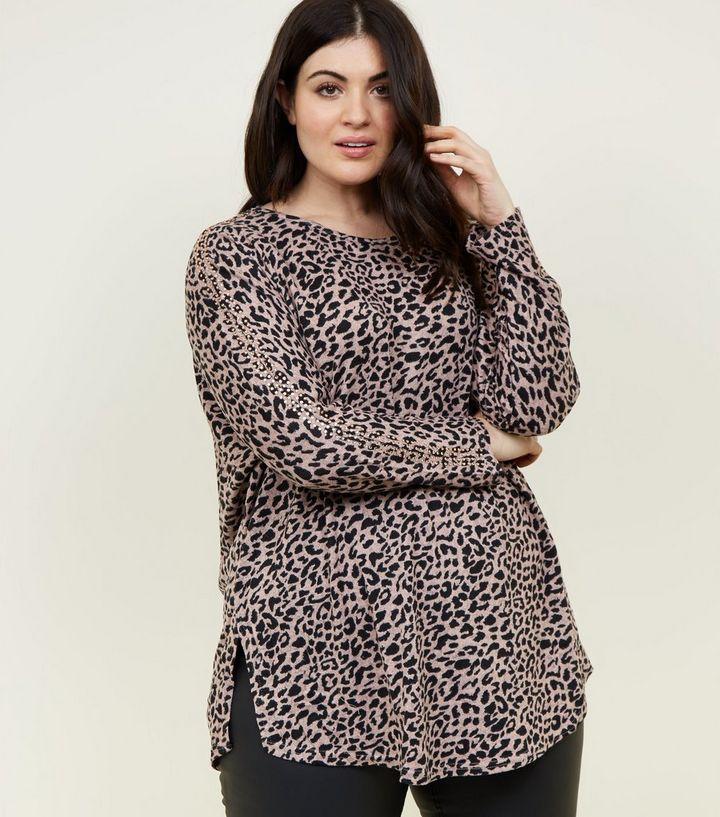 0c333bbb3b34 Blue Vanilla Curves Pink Leopard Print Gem Sleeve Top   New Look