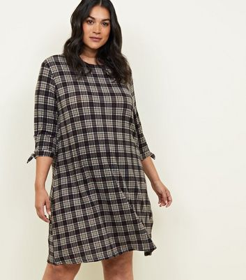 Blue Vanilla Curves Grey Check Smock Dress