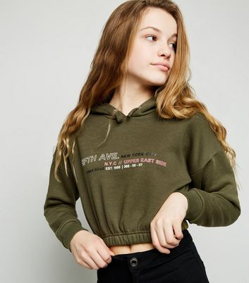Girls Khaki New York City Slogan Hoodie