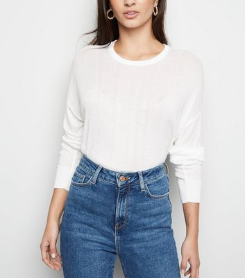 White Fine Knit Jumper