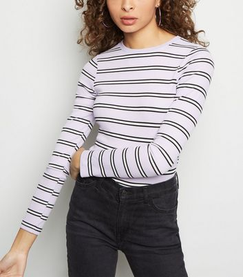 Lilac Stripe Ribbed Long Sleeve Top