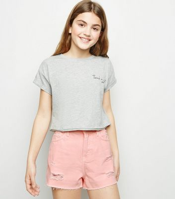 Girls Coral Ripped Denim Mom Shorts