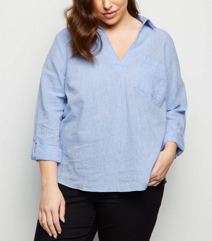 a616cb9b264ba1 Curves Blaues Hemd Aus Leinen Mix Zum überziehen New Look