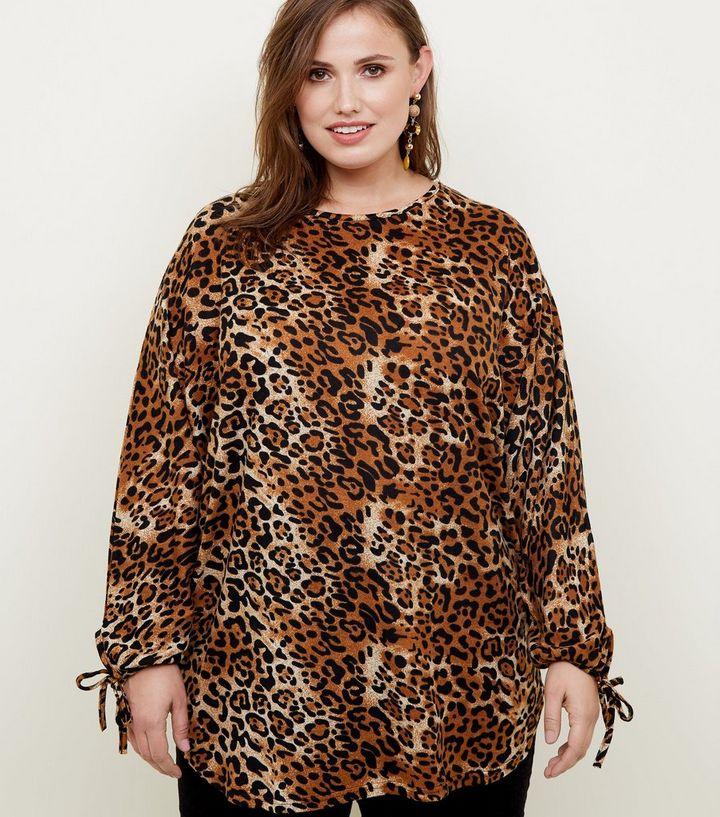 222254102cf13 Blue Vanilla Curves Brown Leopard Print Top