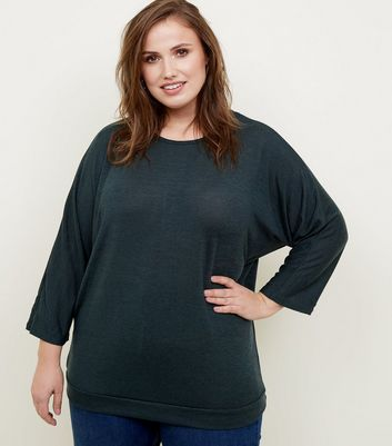 Blue Vanilla Curves Dark Green Button Batwing Top