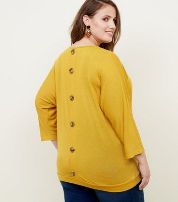 shop for Blue Vanilla Curves Mustard Button Batwing Top New Look at Shopo