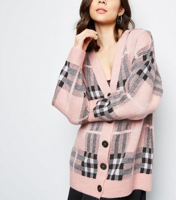 Pink Check Brushed Cardigan