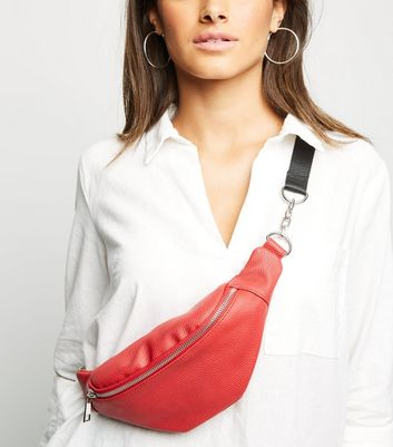 Red Leather-Look Chain Strap Utility Bum Bag