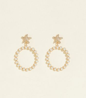 RE:BORN Gold Star and Faux Pearl Earrings