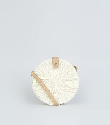 Cream Straw Effect Woven Round Bag