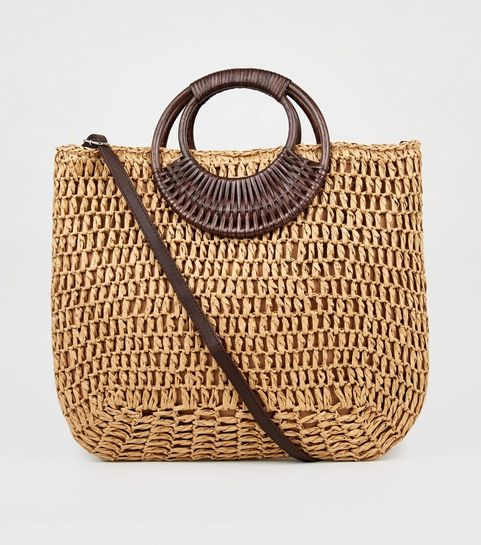 34eb9ffe5a93d ... Stone Straw Effect Woven Handle Tote Bag ...