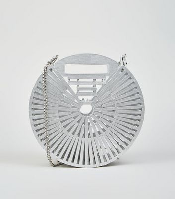 Silver Slatted Bamboo Round Shoulder Bag