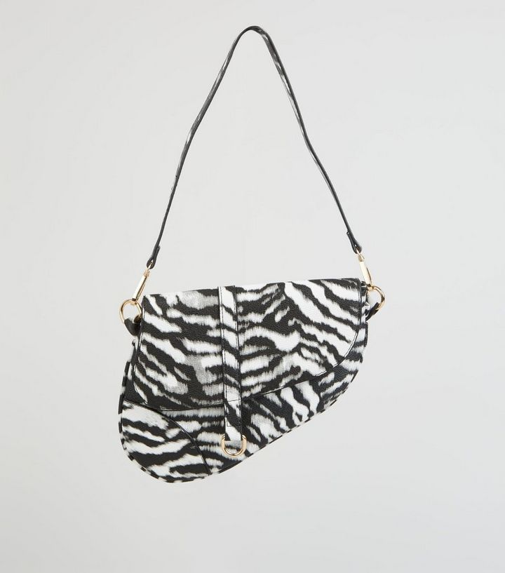 Black Faux Zebra Asymmetric Saddle Bag Add To Saved Items Remove From