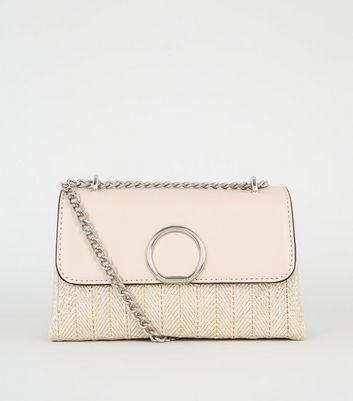 Rose Gold Metallic Woven Stripe Shoulder Bag