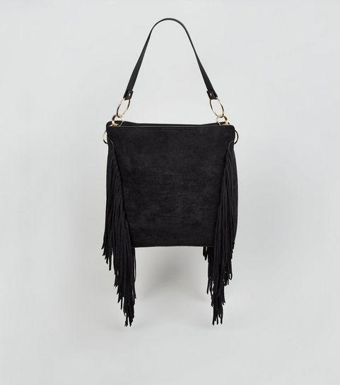 ... Black Suedette Fringe Tote Bag ... b3eef6973a61