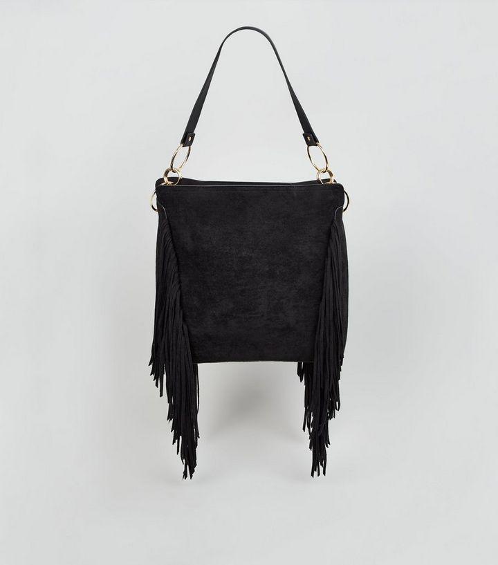 5a5060517 Black Suedette Fringe Tote Bag | New Look