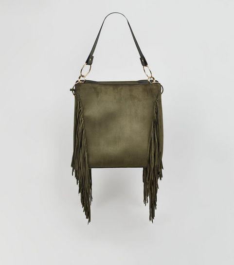 ... Khaki Suedette Fringe Tote Bag ... 530da188de308