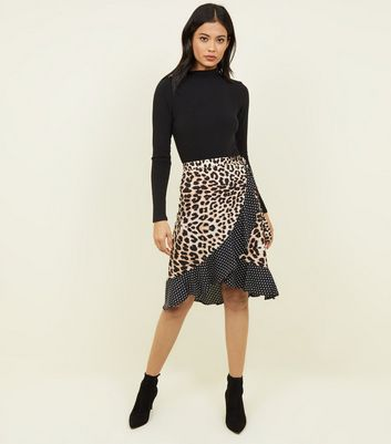 Influence Brown Leopard and Spot Wrap Skirt