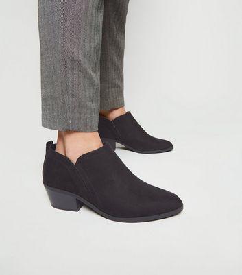 Wide Fit Black Low Heel Western Shoe