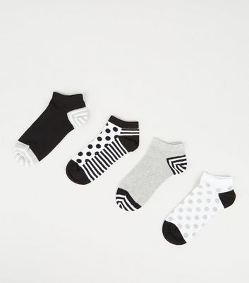 4 Pack Monochrome Stripe and Spot Ankle Socks