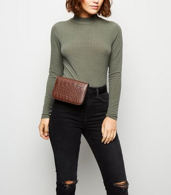 Tan Faux Croc Cross Body Belt Bag