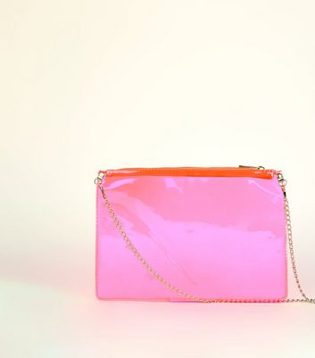 Bright Pink Neon Clear Cross Body Bag