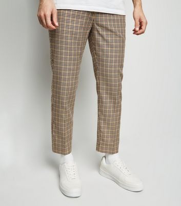 Brown Gingham Skinny Crop Trousers