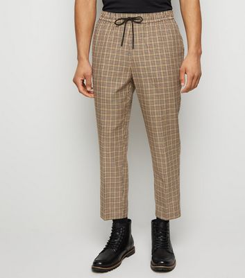 Brown Gingham Slim Crop Trousers