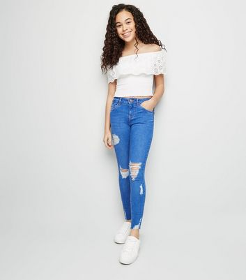 Girls Bright Blue Ripped High Waist Skinny Jeans