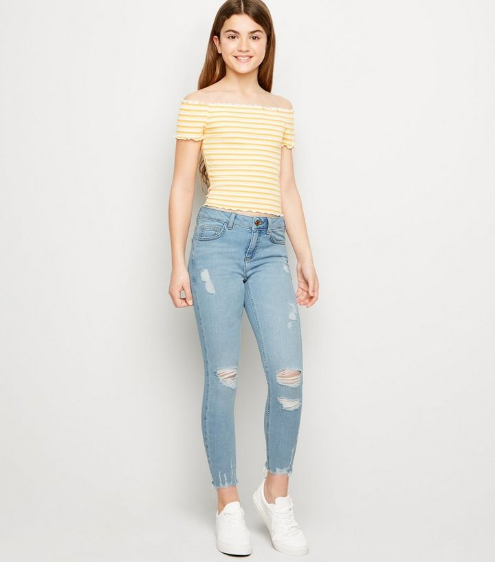 475fe5156af Girls Pale Blue Ripped Skinny Jeans | New Look