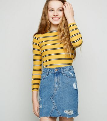 Girls Blue Ripped Denim Mom Skirt