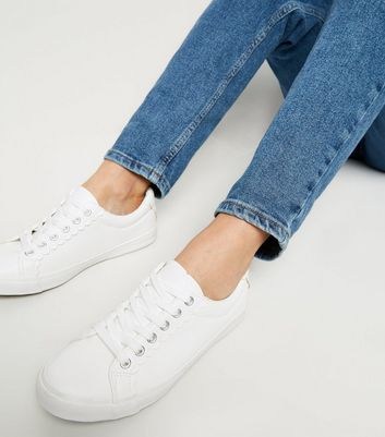 Wide Fit White Leather-Look Scallop