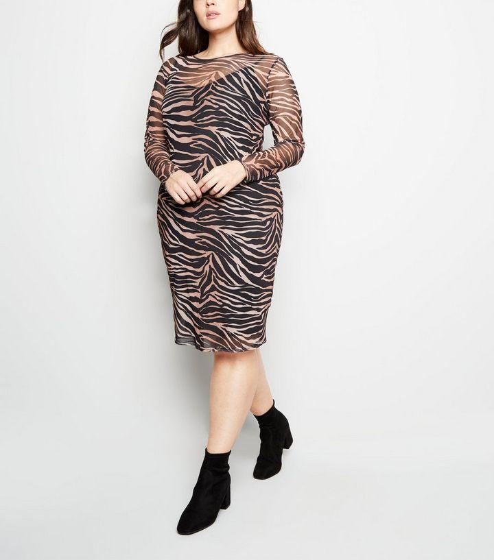 a454113eb3 ... Curves Black Tiger Print Mesh Midi Dress. ×. ×. ×. Shop the look