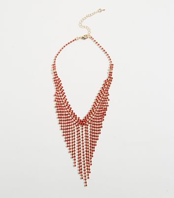 Collier choker rouge style waterfall à strass