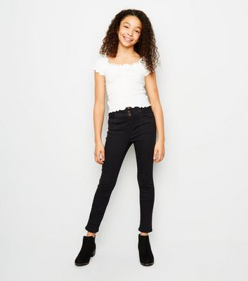 Girls – Schwarze High Waist Skinny Jeans