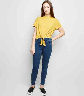 Girls Blue High Waist Skinny Jeans