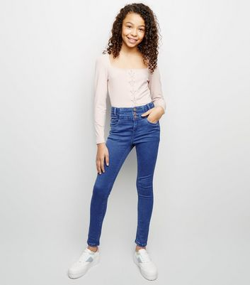 Girls Bright Blue High Waist Skinny Jeans