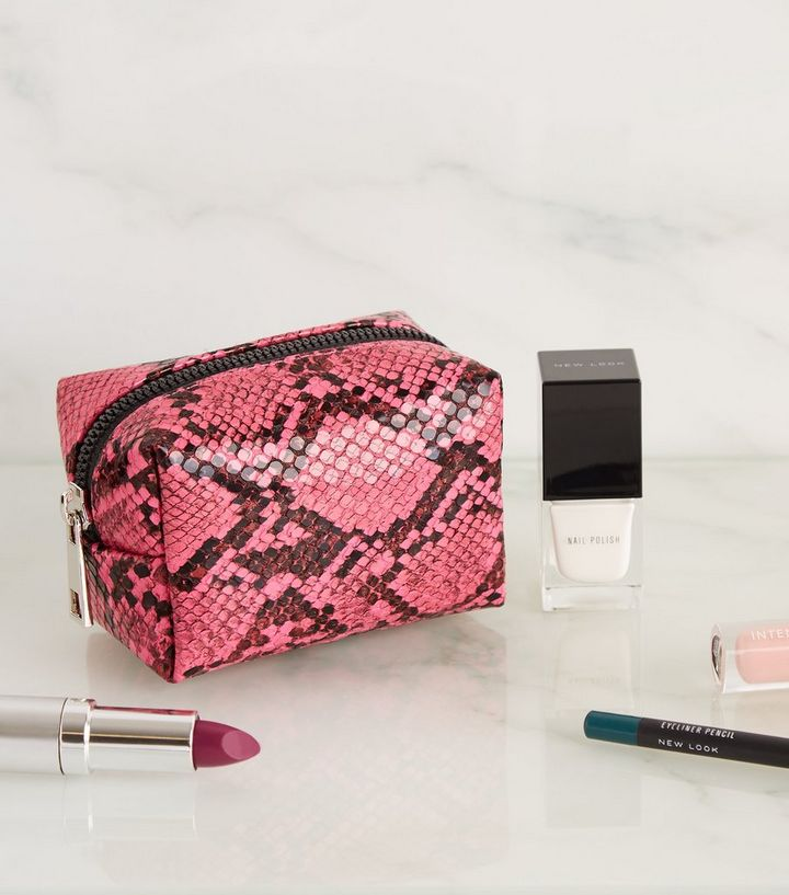 3966a8746e80 Bright Pink Faux Snake Mini Make-Up Bag | New Look