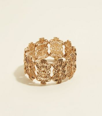RE:BORN Gold Ornate Stretch Bracelet