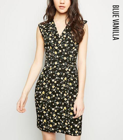 bd8f230c940 ... Blue Vanilla Black Floral Tulip Dress ...