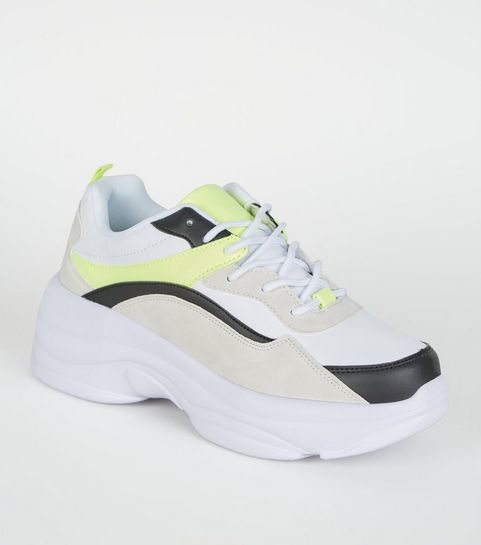 538f225b953 ... Black and Yellow Chunky Sole Trainers ...