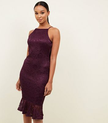 AX Paris Burgundy Lace Frill Hem Dress