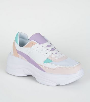 Multicoloured Pastel Chunky Sole Trainers