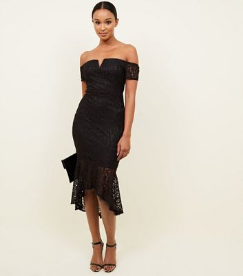 AX Paris Black Fishtail Bardot Midi Dress