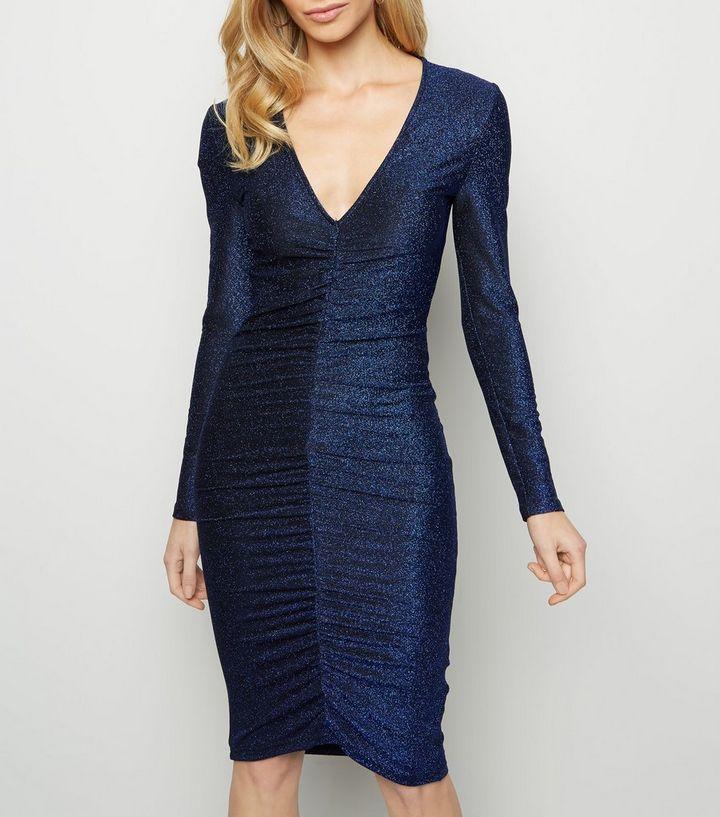 80448ca2 AX Paris Blue Glitter Ruched Front Dress | New Look