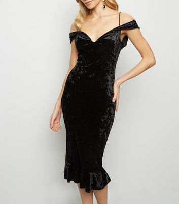 AX Paris Black Velvet Cold Shoulder Midi Dress New Look